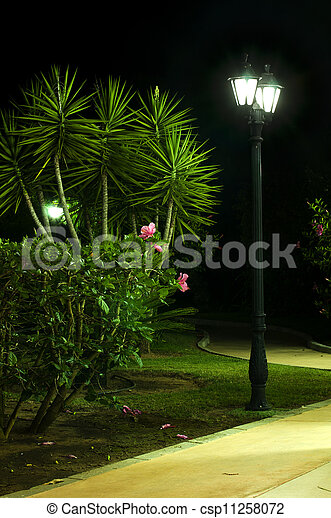 Night picture of the lamp in the park - csp11258072