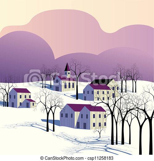 Winter morning landscape - csp11258183