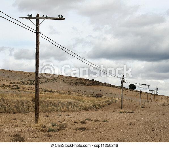 viejo, postes, eléctrico - csp11258246