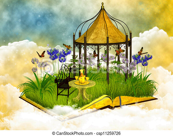 dreamy reading place in the blue sky - csp11259726