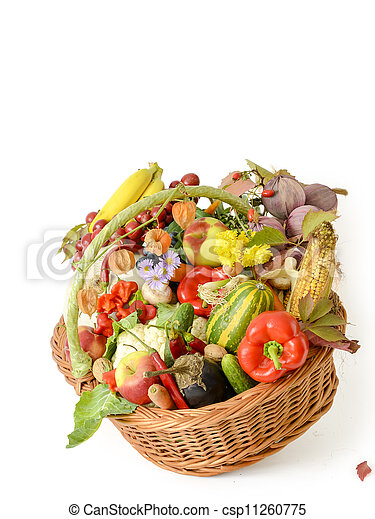 Basket with vegetables and fruits - csp11260775