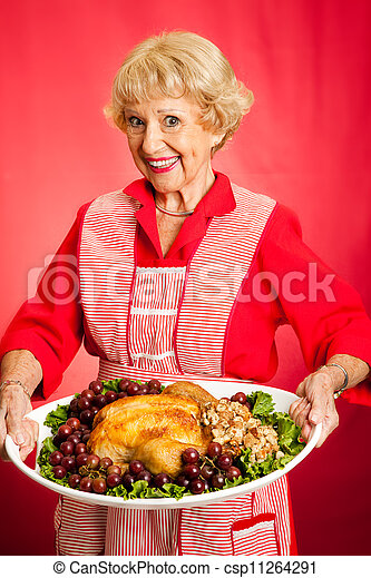 Grandma Serves Holiday Dinner - csp11264291