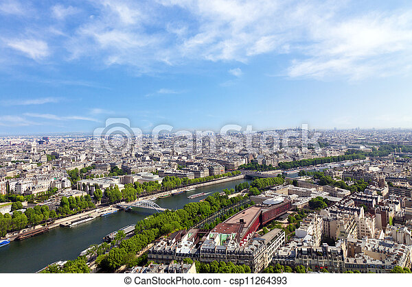 Aerial view of Paris architecture from the Eiffel tower.  - csp11264393