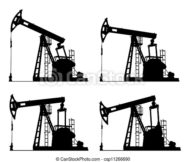 Stock Photographs of oil well pump jack silhouette isolated ...