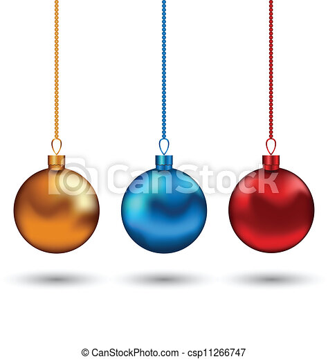 Christmas colorful balls isolated on white background - csp11266747