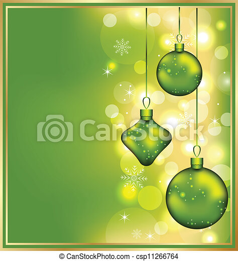 Holiday glowing invitation with Christmas balls - csp11266764