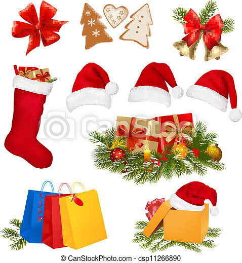 Set of Christmas objects. Vector. - csp11266890