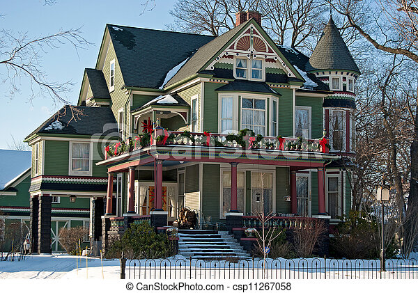 Stock Images of Christmas Victorian Home - Victorian house decorated ...