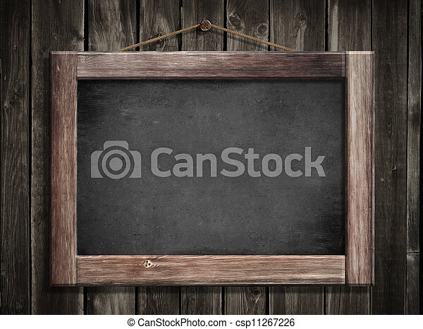 Stock Foto - grunge, kleine, bord, hangend, houten, muur, achtergrond ...