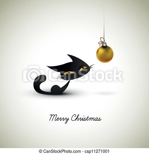 Vector , grande, excitado, Mascota, globo, sobre, saludo, gato, dueños, poco, navidad,