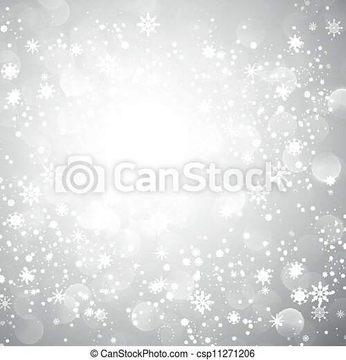 Silver Snowflake Christmas Background - csp11271206