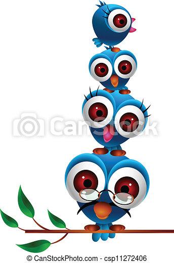 cute blue bird family - csp11272406