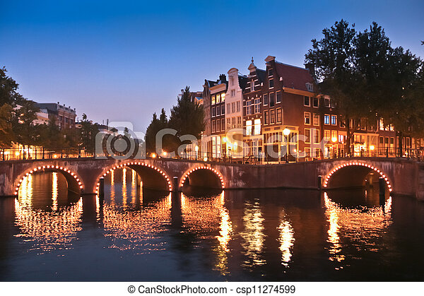 Amsterdam canals and bridges at night - csp11274599