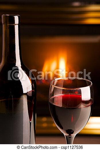 Fireplace red wine - csp1127536