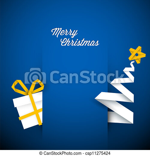 Simple vector blue christmas card illustration - csp11275424