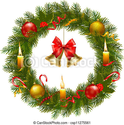 Christmas wreath with christmas tre - csp11275561