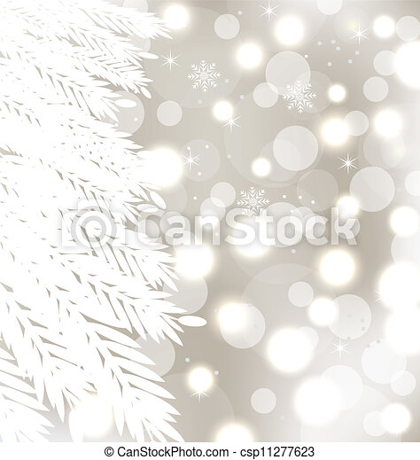 Abstract winter glowing background with fur-tree - csp11277623
