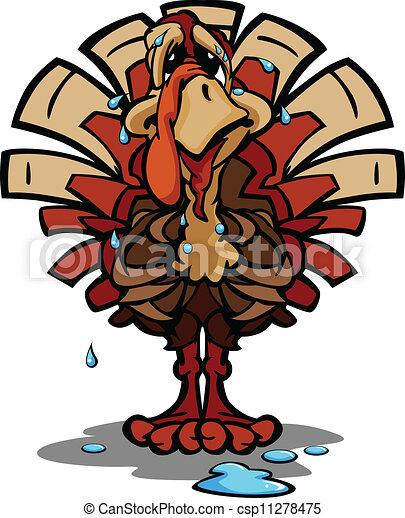 Nervous Thanksgiving Holiday Turkey Cartoon Vector Illustration - csp11278475