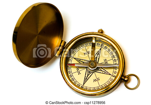Old style brass compass - csp11278956