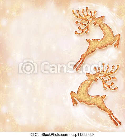 Christmas holiday card, festive background, reindeer decorative border, traditional tree ornament, abstract shiny glowing lights,winter holidays celebration - csp11282589