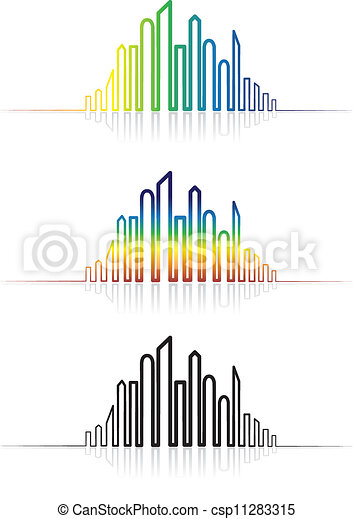 Illustration of colorful metropolitan city skyline. The graphic is created using line to outline the downtown skyscrapers in rainbow colors and in black & white with reflections.  - csp11283315