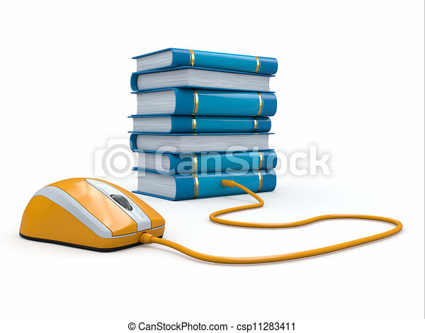 Clipart of Internet education. Books and computer mouse. 3d ...