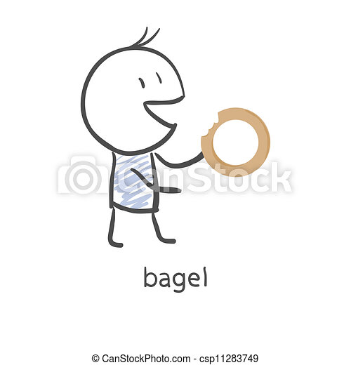 Cartoon Bagel Clipart Cartoon Guy Eats a Bagel