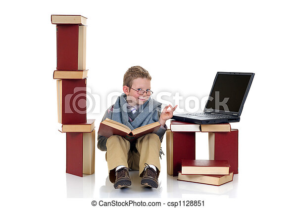 Eight year young boy studying - csp1128851