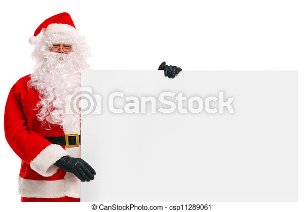 Santa Claus holding a blank sign - csp11289061