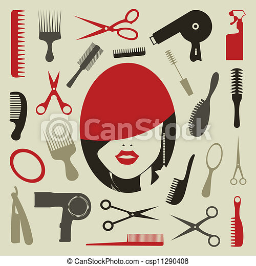 Hair Style Icons : Vector Clipart of Hairstyle an icon - Tooling a hairstyle for design ...