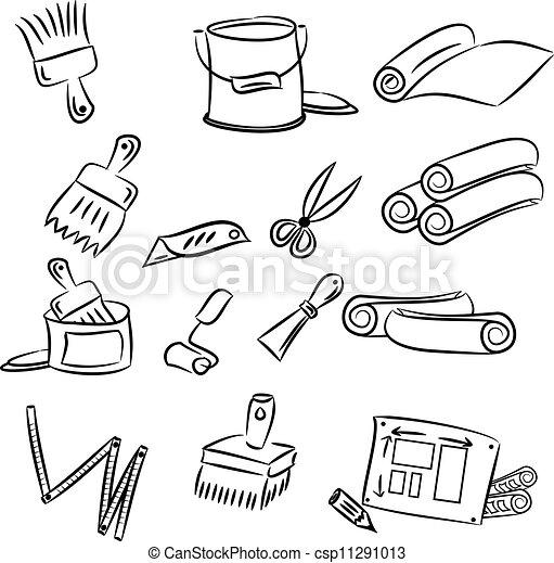 Clip art vecteur de bricolage d corer outils dessin for Outil pour dessiner
