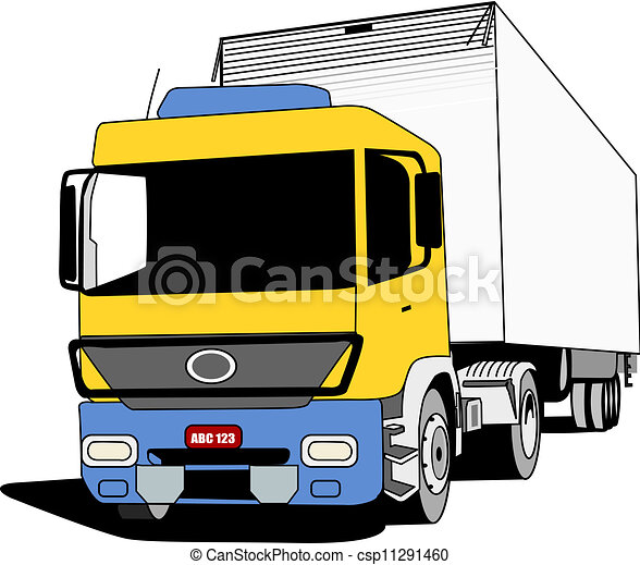 Clip Art Vector of Cargo Truck - Yellow blue cabin truck used to ...