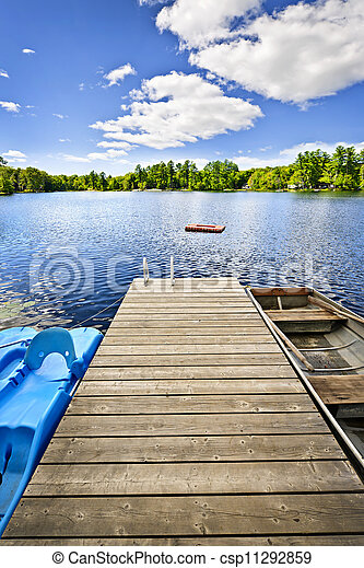 Dock on lake in summer cottage country - csp11292859