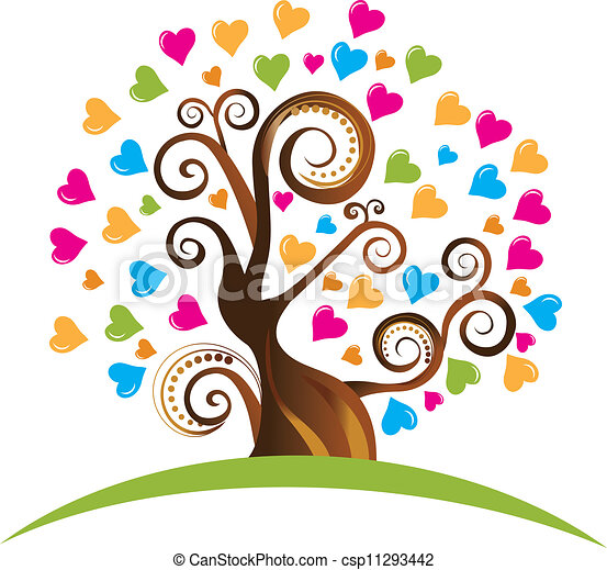 Tree with ornaments and hearts logo - csp11293442