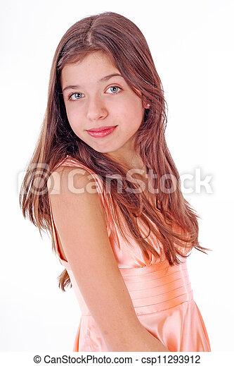 Stock fotografie van tiener roze meisje jurkje aardig aardig tiener csp11293912 - Tiener meisje foto ...