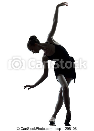 young woman ballerina ballet dancer stretching warming up - csp11295108