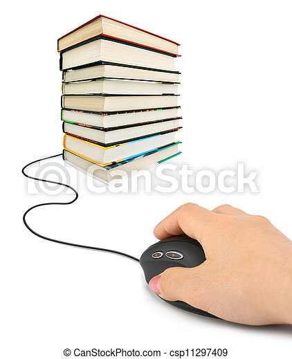 Hand with computer mouse and books - csp11297409