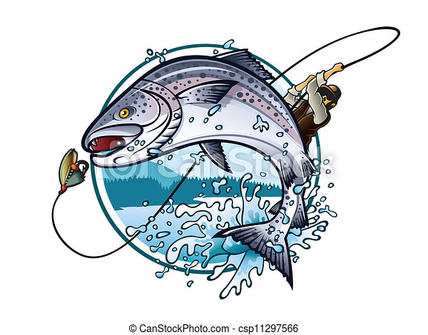 Clip Art Vector Of Fishing Salmon Illustration Of An