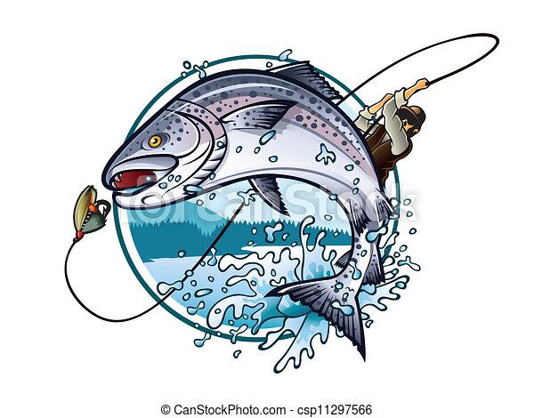 Clip Art Vector Of Fishing Salmon Illustration Of An