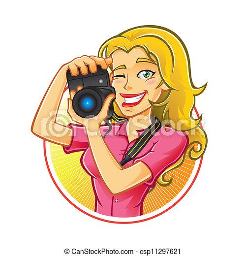 Vector Illustration of Woman Photographer - Woman ...  Vector Illustra...
