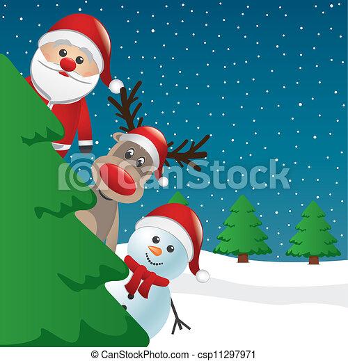 santa reindeer and snowman behind tree - csp11297971