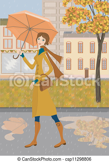 Lady and autumn city