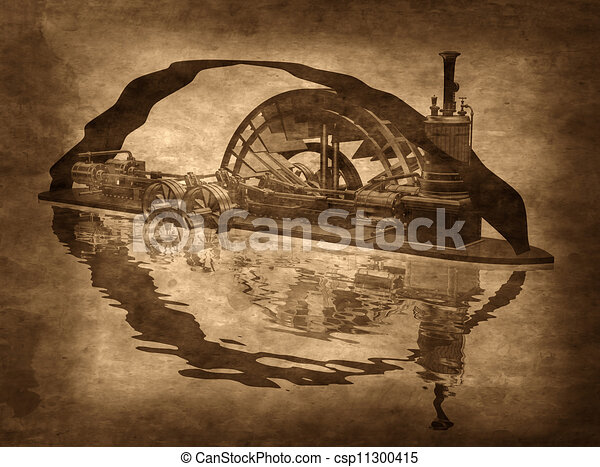 Clipart of Grungy Steampunk Boat - Illustration of a grungy steampunk ...