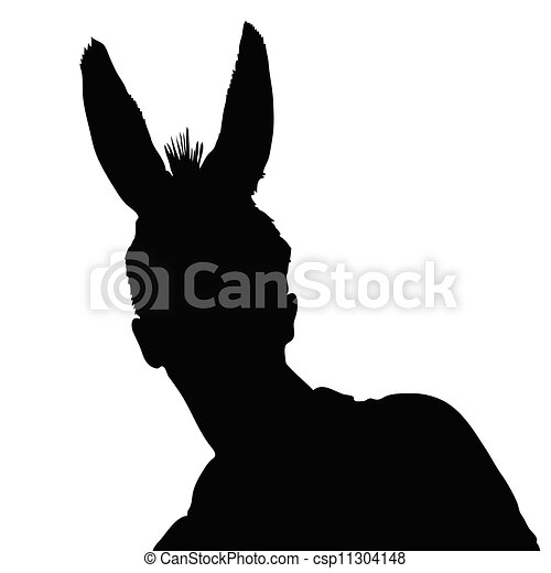 man with donkey ears vector - csp11304148