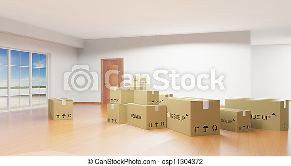 Home interior with cardboard boxes  - csp11304372