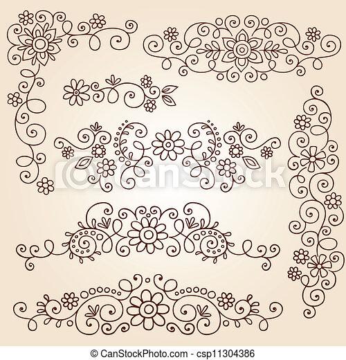 Vector Of Henna Vines Frame Borders Paisley
