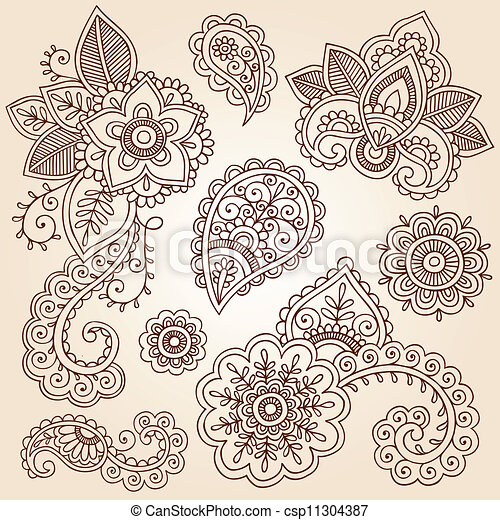 Vector of Henna Paisley Vector Flower Set - Henna Flowers and Paisley ...