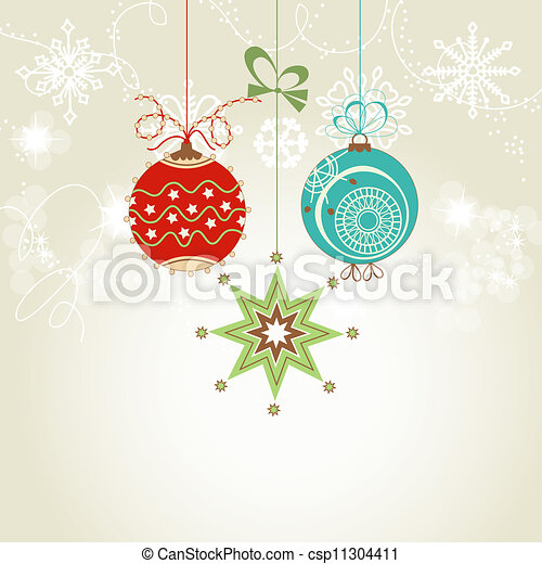 Shiny Christmas card with colorful ornaments vector illustration - csp11304411