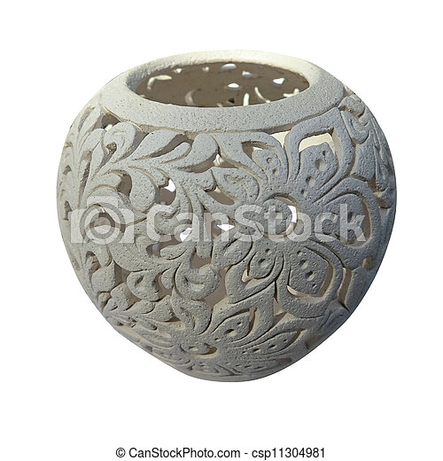 Decorative clay vessel with pattern isolated over white - csp11304981