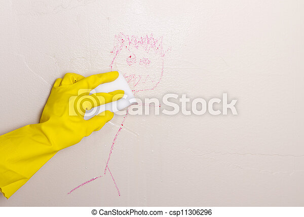 Cleaning Crayon Off Wall With Magic Picture Instant